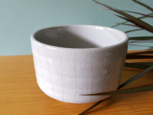 Japanese 'Chawan' Matcha Bowl, White on Grey
